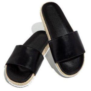 Shoes - Espadrille Slides in Black